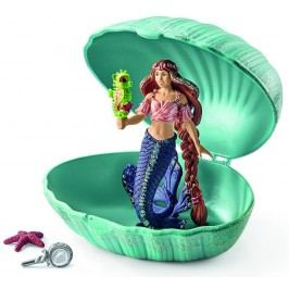 Schleich Mořská panna s mořským koníkem v mušli 70563