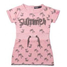 Dirkje Dívčí šaty s palmami - růžové