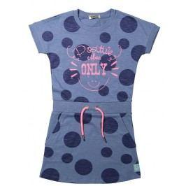 Dirkje Dívčí šaty s puntíky - modré