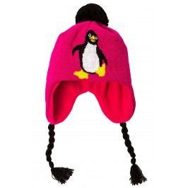 O'Style Dívčí čepice s tučňákem - růžová