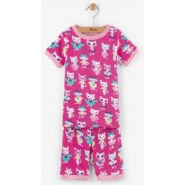 Hatley Dívčí letní pyžamo s kočičkami - růžové