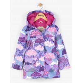Hatley Dívčí nepromokavý kabát s mráčky - fialový