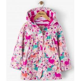 Hatley Dívčí nepromokavý kabát s koníky - barevný