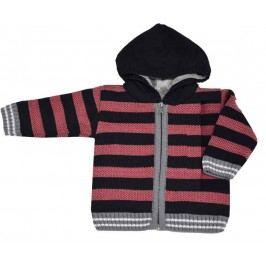 EKO Chlapecký pruhovaný svetr s kožíškem - červeno-černý