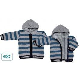 EKO Chlapecký pruhovaný svetr s kožíškem - modro-šedý