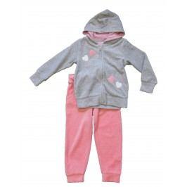 Carodel Dívčí tepláková souprava se srdíčky - růžovo-šedá