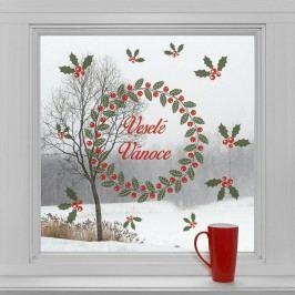 Housedecor Samolepky na sklo Věnec a Veselé Vánoce