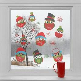 Housedecor Samolepky na sklo Vánoční sovičky