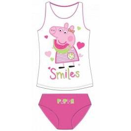 E plus M Dívčí set tílka a kalhotek Peppa Pig - bílo-růžový