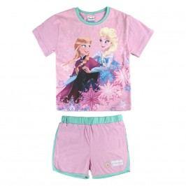 Disney Brand Dívčí set kraťasů a trička Frozen - růžový