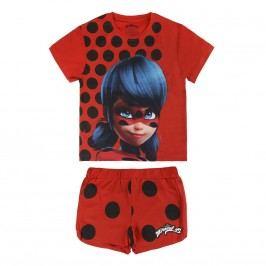 Disney Brand Dívčí set kraťasů a trička Ladybug - červený