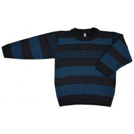 EKO Chlapecký pruhovaný svetr - modro-šedý