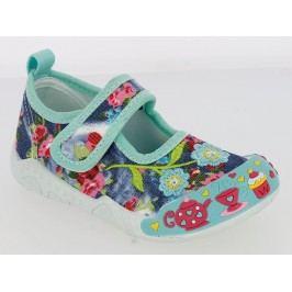 V+J Dívčí plátěné tenisky s květinami - barevné