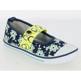 V+J Dívčí balerínky s květinami - modro-zelené