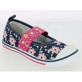 V+J Dívčí balerínky s květinami - modro-růžové