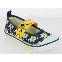V+J Dívčí balerínky s květinami - modro-žluté