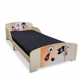 Homestyle4U Dětská dřevěná postel Pirát