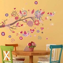 Walplus Samolepka na zeď Růžové kytičky a ptáčci, 105x75 cm