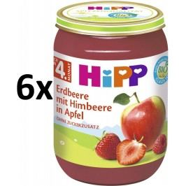 HiPP BIO Jablka s jahodami a malinami, 6x190 g
