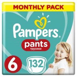 Pampers Plenkové kalhotky Pants 6 Měsíční balení 132 ks