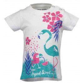 Blue Seven Dívčí tričko s plameňáky - bílé