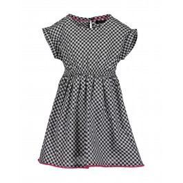 Blue Seven Dívčí kostkované šaty - černo-bílé