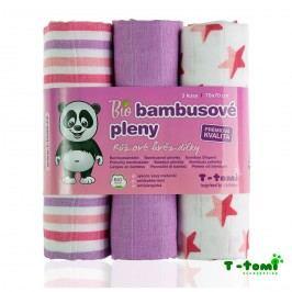 T-tomi Bambusové pleny, sada 3 ks, růžové hvězdičky
