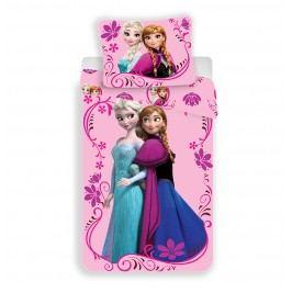 Jerry Fabrics Dětské oboustranné povlečení Frozen, 140x200 cm/70x90 cm - růžové