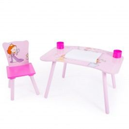 Homestyle4U Dětský stolek se židličkou Princezny