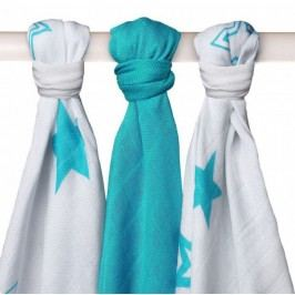 XKKO Bambusové pleny 70x70cm, 3ks - Stars Turquoise Mix