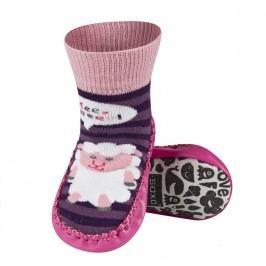 SOXO® Dívčí ponožky s podrážkou Ovečka - růžovo-fialové