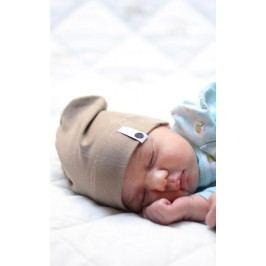Lamama Dětská novorozenecká čepice - světle hnědá