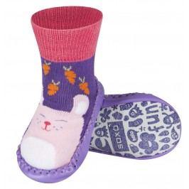 SOXO® Dívčí ponožky s podrážkou Kočka - fialové