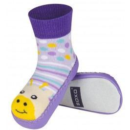 SOXO® Dívčí ponožky s podrážkou Žirafa - fialové