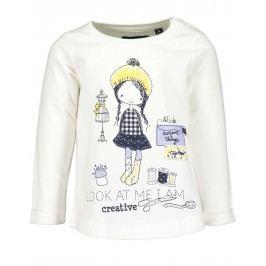Blue Seven Dívčí tričko s holkou - bílé