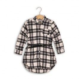 Minoti Dívčí kostkovaná košile s páskem Rock - černo-bílá