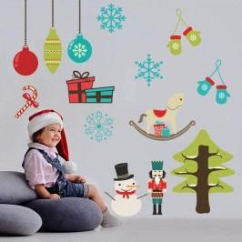 Housedecor Samolepka na zeď Symboly Vánoce 90x60 cm