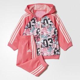 adidas Dívčí tepláková souprava Hooded Jogger - růžová