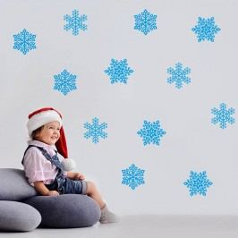 Housedecor Samolepka na zeď Modré vločky 70x50cm