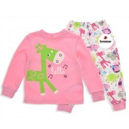Garnamama Dívčí pyžamo s žirafou - růžové