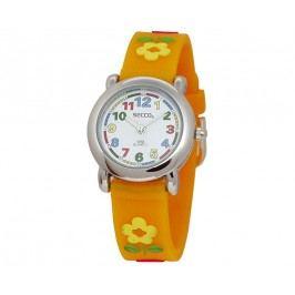 Secco Dívčí hodinky s kytičkami - oranžové