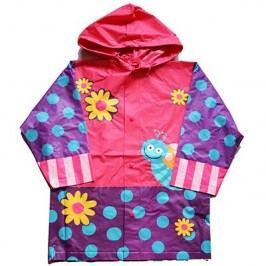 PIDILIDI Dívčí pláštěnka s motýlkem a květy - fialovo-růžová
