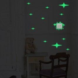 Walplus Svítící samolepka na zeď Hvězdy a mimozemšťánci