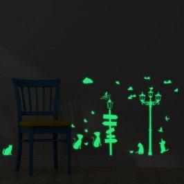 Walplus Svítící samolepka na zeď Kočky u pouliční lampy