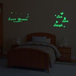 Walplus Svítící samolepka na zeď Sweet Dreams & Live Love Laugh