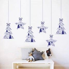 Housedecor Samolepka na zeď Stromečky a hvězdičky 90x60 cm