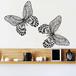 Housedecor Samolepka na zeď 2 černí motýli 90x60 cm