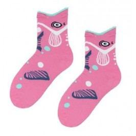 STEVEN Dívčí ponožky s rybičkou - růžové