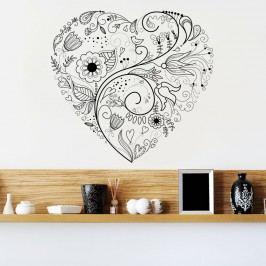 Housedecor Samolepka na zeď Floral heart 90x60 cm