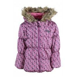 PIDILIDI Dívčí zimní bunda s kytičkami Puffy - růžová